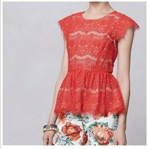 Maeve Lace Peplum Top XS